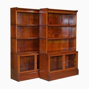 Antique Hardwood Satinwood & Walnut Legal Bookcases from William Baker Co., Set of 2