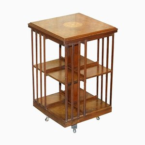 English Burr Walnut & Satinwood Revolving Bookcase, 1900s