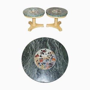 Walnuss Beistelltische mit grünen Marmorplatten mit eingelassenen Hartsteinblumen, 2er Set