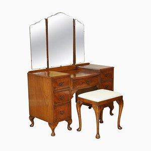 Vintage Burr Walnut Dressing Table & Stool with Tri-Fold Mirrors
