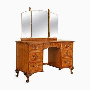 Vintage Burr Walnut Dressing Table with Tri-Fold Mirrors