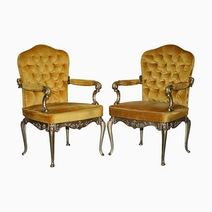 Hollywood Regency Armchairs with Brass Frames, Italy, 1960s, Set of 2