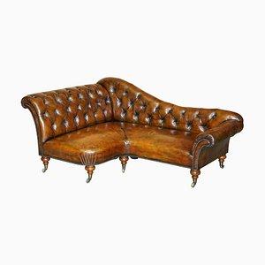Viktorianisches Chesterfield Ecksofa aus braunem Leder von Howard & Sons