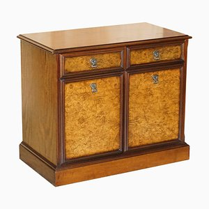 Burr & Quarter Cut Walnut Sideboard with Twin Drawers & Cupboard Base