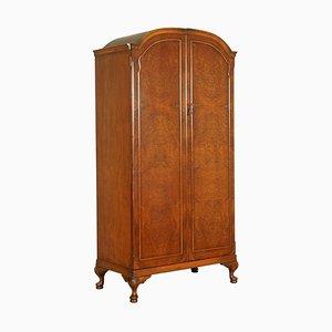 Vintage Kleiderschrank aus Nusswurzelholz mit 2 Türen und Regalen