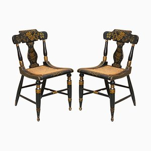 Georgian Baltimore Ebonised Painted Gilt Bergere Side Chairs, 1820s, Set of 2