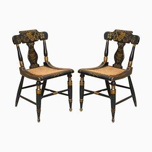 Georgianische Ebonisierte Baltimore Bergere Beistellstühle mit vergoldetem Gestell, 1820er, 2er Set