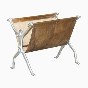 Vintage Brown Leather & Chrome Magazine Rack from Carrol Boyes