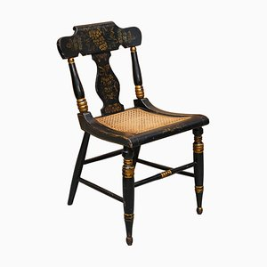 Georgian Baltimore Ebonised & Painted Gilt Bergere Side Chair, 1820s