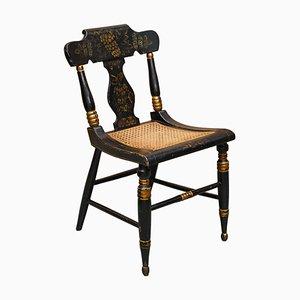 Georgianischer Baltimore Ebonisierter & Bemalter Bergere Beistellstuhl, 1820er