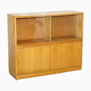 Large Honey Oak Sideboard with Glass Doors, 1960s
