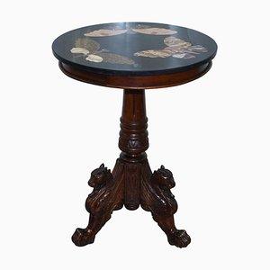 Dreibeiniger Tisch aus Marmor & Hartholz von Pietra Dura, 1870er