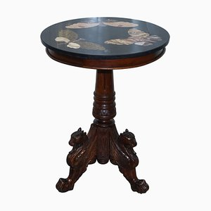 Marble & Hardwood Tripod Table from Pietra Dura, 1870s