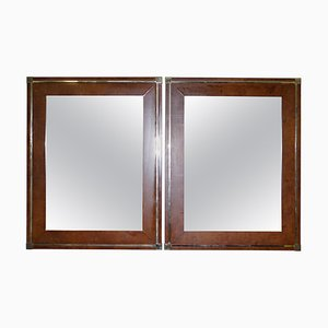 Mid-Century Burr Walnut & Gold Plated Wall Mirrors by Renato Zevi, Set of 2