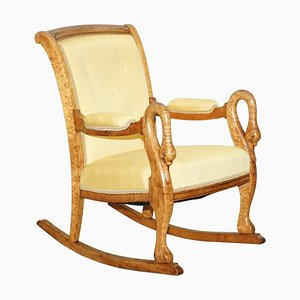 Burr Maple Rocking Armchair with Hand Carved Swan Arms