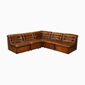 Modular Brown Leather Corner Sofa from de Sede, 1960s