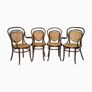 Fauteuils Bergère en Bois Courbé par Jacob & Josef Kohn pour Thonet, Set de 4