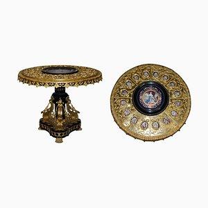 Napoleon III Louis XVI Stil Tisch aus vergoldeter Bronze & Porzellan