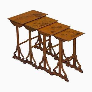 Art Nouveau Nesting Tables by Emile Galle, Set of 4