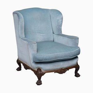 George II Blue Velvet Victorian Armchair