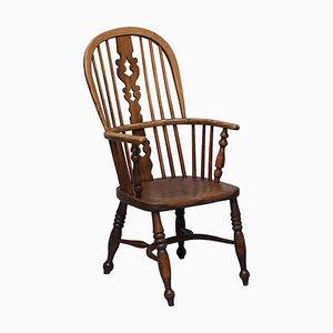 Antiker englischer Windsor Armlehnstuhl aus Ulmenholz, 19. Jh