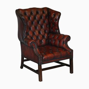 Vintage Oxblood Leather Chesterfield Wingback Armchair