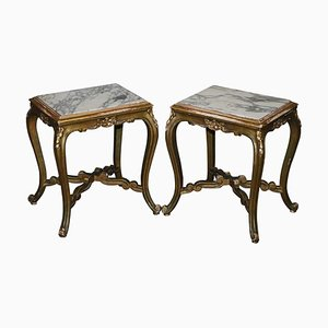 French Napoleon III Gold Giltwood Side Tables with Marble Tops, 1860s, Set of 2