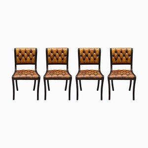 Vintage Chesterfield Esszimmerstühle aus Hartholz & braunem Leder, 4er Set