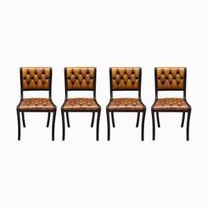 Vintage Chesterfield Hardwood & Brown Leather Dining Chairs, Set of 4