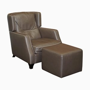 Amadeus Platinum Grey Leather Lounge Chair & Footstool from Natuzzi Italia, Italy, Set of 2