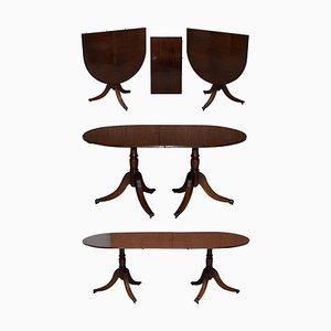 Extending Tilt Top Oval Dining Table in the Regency Style Solid Hardwood Castors