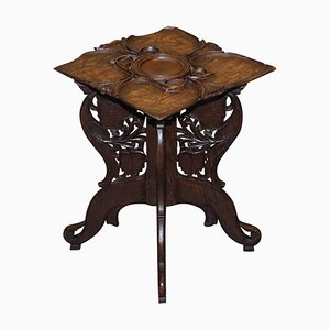 19th-Century Anglo Burmese Hand Carved Folding Table