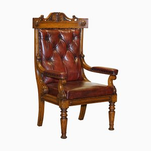 English Estate Oxblood Leather Throne Armchair, 1840s