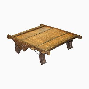 Antique Tibetan Reclaimed Wood and Metal Bound Coffee Table