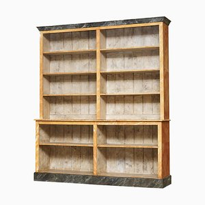 Victorian Pine & Marble Library Bookcase