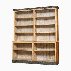 Viktorianisches Bücherregal aus Pinienholz & Marmor