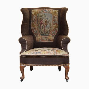 Antique Victorian Wingback Armchair with Embroidered Upholstery, 1840s