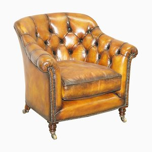 Chesterfield Brown Leather Club Chair from Howard and Sons