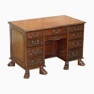 Antiker viktorianischer handgeschnitzter Schreibtisch, 1850er