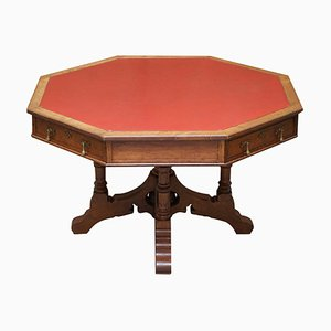 English Gothic Revival English Oak Octagonal Library Table, 1850s