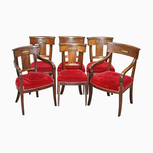 Napoleon III French Empire Revival Dining Chairs in Mahogany and Bronze, Set of 6