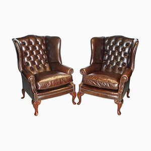 Chesterfield Brown Leather Wing Armchairs from Brights of Nettlebed, Set of 2