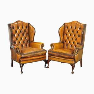Chesterfield Wingback Armchairs in Cigar Brown Leather from William Morris, Set of 2