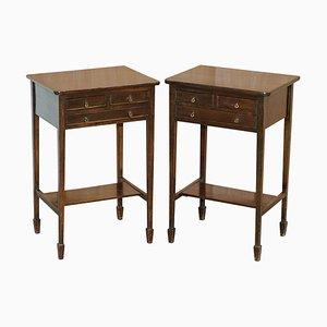 Viktorianische Beistelltische aus Hartholz mit 3 Schubladen, 2er Set