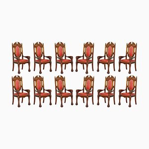 Dragon Carver Armchairs in Leather with 22-Carat Gold Tips from Neil Busby, Set of 12