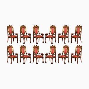 Dragon Carver Ledersessel mit 22-karätigen Goldspitzen von Neil Busby, 12er Set