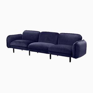 Bean 3-Sitzer Sofa Set aus blauem Velours von Emko