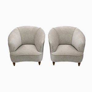 Mid-Century Modern Velvet Chairs by Gio Ponti for Casa E Giardino, Italy, 1936, Set of 2