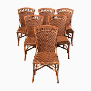 Faux Tortoiseshell Bamboo Dining Chairs, Italy, 1970s, Set of 6