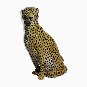 Terracotta Cheetah or Leopard Statue, Italy, 1970s